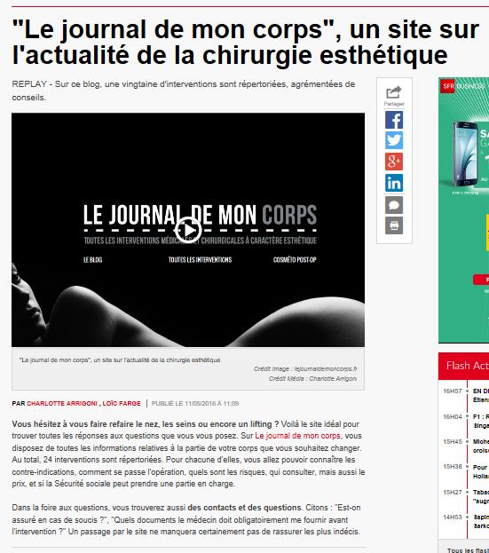 chronique sur Le Journal de Mon Corps sur RTL